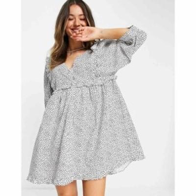 エイソス ASOS DESIGN レディース ワンピース Vネック ミニ丈 frill v neck cotton button through mini smock dress in spot print モノ