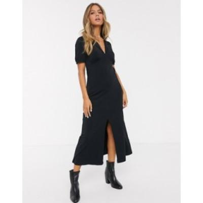 エイソス レディース ワンピース トップス ASOS DESIGN ultimate midi tea dress with collar in black Black