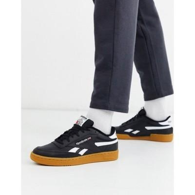 リーボック メンズ スニーカー シューズ Reebok Classics Club C Revenge sneakers in black with gum sole