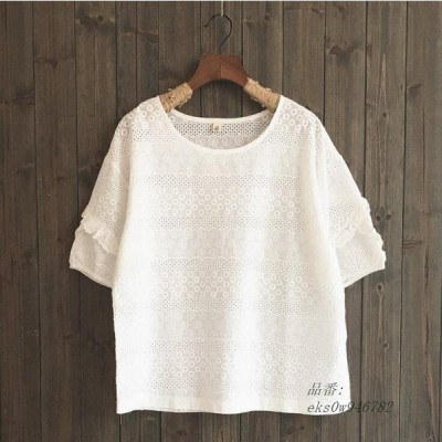 綿生地ブラウス 半袖花柄Tシャツ 森ガールブラウス 花柄刺繍夏シャツ レディース半袖ブラウス 全店2点 3色 体型カバーシャツ ゆったり