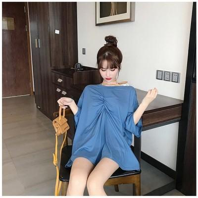 着まわし抜群 気質 夏 新 香港風 半袖 Tシャツ 女性 カレッジ風 ゆったり 怠惰な風 トップス 上着
