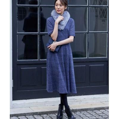 ANAYI/アナイ キモウキカレースフレアワンピース ブルー 36