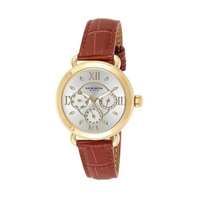 Akribos XXIV Multifunction Leather Women's Watch ? Day, Date and 24 Hour Chronograph Displays, Brown Crocodile Strap, Japanese Quartz ? AK1043YG