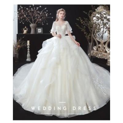 超可愛い ウェディングドレス Vネック 袖あり トレーン マタニティ 大きいサイズあり 白 結婚式 撮影 ベール グローブ付 H041a