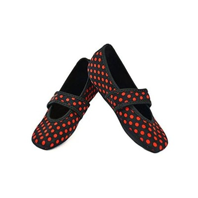 Nufoot Betsy Lou Indoor Womens Shoes Slipper, Black with Red Polka Dots, X-