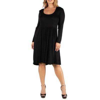 24セブンコンフォート レディース ワンピース トップス Plus Size Knee Length Pleated Long Sleeve Dress