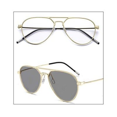 Photochromic Driving Glasses for Men Women Anti Glare Polarized Aviator Sunglasses Metal Double Bridge Fashion Trendy (Gold/Black, Discolor Lens) 並