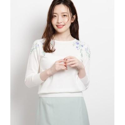 【スーナウーナ】 フラワービーズ刺繍ニットプルオーバー レディース オフホワイト 38(M) SunaUna