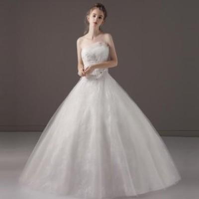 Aライン/ウェディングドレス/ウエディングドレス/ロングドレス/ビスチェ/編み上げ/ホワイト/S~XL/wd64m
