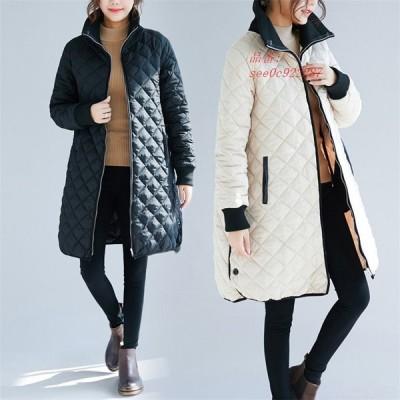 レディース 中綿コート キルティングコート 女子 綿入れ ロング オーバーコート 体型カバー 女子アウター