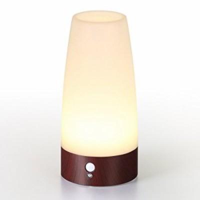 Lifeholder LEDライト 人感&明暗センサーライト ナイトライト 足元ライト 木目調 室内照明 玄関 階段 廊下 電池式 電球色(円