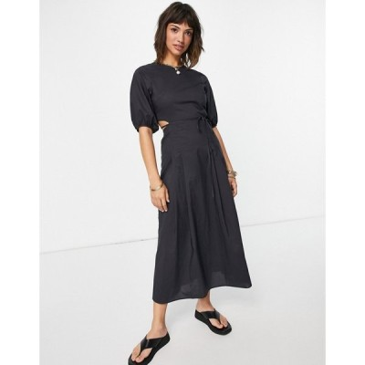 アンドアザーストーリーズ & Other Stories レディース ワンピース organic cotton cut out waist midi dress in washed black ウォッシュブラック