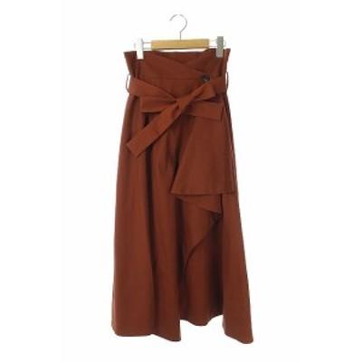 【中古】エリン ELIN 17SS ソリッドラップスカート ロング ベルト付き 36 茶 /KN ■OS レディース