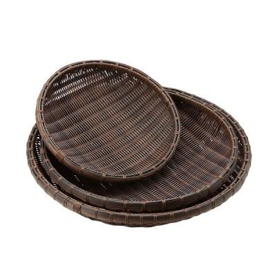 樹脂 丸ザル 茶 30cm 91−087