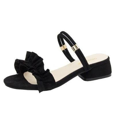 人気急上昇サンダルレディースストラップハイヒールパンプス靴チャンキーヒールシューズミュール歩きやすい美脚4cm