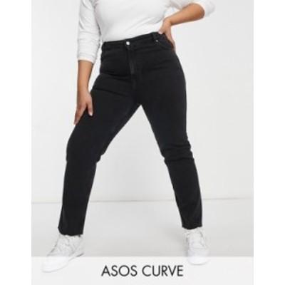 エイソス レディース デニムパンツ ボトムス ASOS DESIGN Curve mid rise vintage 'skinny' jeans in washed black Washed black