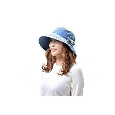 クーアイ(Kuai) 帽子 レディース ハット コサージュ付き つば広帽子 UVカット 折りたたみ おしゃれ (ネイビー)