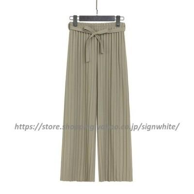 ストラップSETプリーツパンツ?全5色  パンツ ズボン ロングパンツ プリーツ ストラップ ウエストゴム