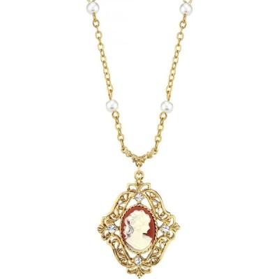 ダウントン アビー Downton Abbey レディース ネックレス 14K Gold-Dipped Carnelian Cameo with Imitation Pearl Necklace Burnt Oran