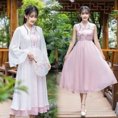 レトロドレス刺繍半袖ドレス 2点セット 大人可愛い ダンス衣装 レディース 演出服 ワンピース 花柄刺繍 大きいサイズ エレガント 結婚式