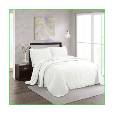 NIUD〓COR HOME 3-Piece Quilt Set Cotton Reversible Stone Washed Coverlet Set with Ruffle, 1 Quilt and 2 Pillow Shams, White, Full/Queen