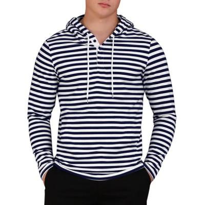 uxcell Lars Amadeus パーカー スウェットシャツ ストライプ柄 フード付き ニット 長袖 メンズ ネイビーブルー S