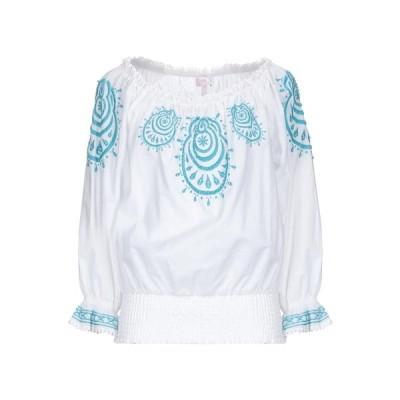 CLIPS MORE ブラウス  レディースファッション  トップス  シャツ、ブラウス  長袖 ホワイト