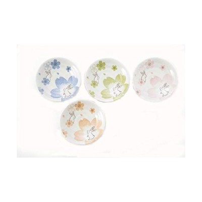カネセ 美濃焼 夢桜うさぎ取り小皿(4色×2枚) 約径12×高2.3? 白、青、ピンク、黄緑、オレンジ