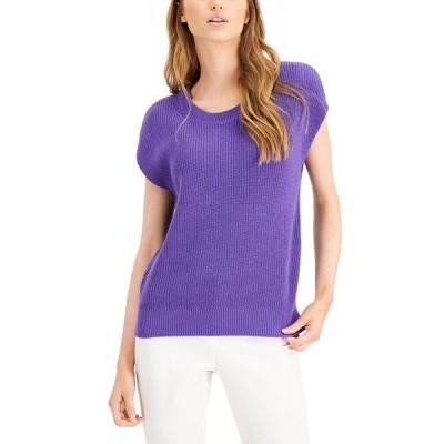 アルファニ ニット&セーター アウター レディース Cap-Sleeve Sweater, Created for Macy's Spicy Purple