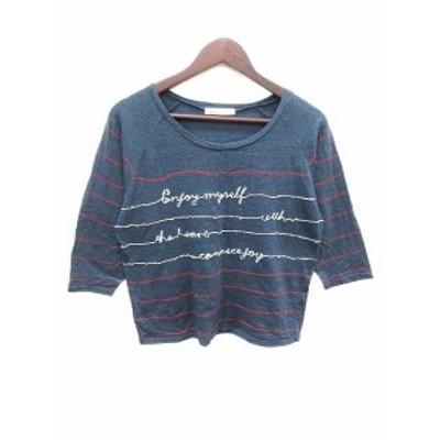 【中古】ナチュラルクチュール natural couture Tシャツ クルーネック ボーダー 長袖 紺 ネイビー 赤 白 レディース