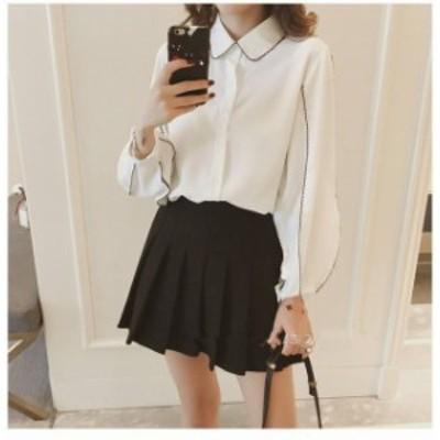 2色 ブラウス ふんわり袖 シャツ パイピング ホワイト ブラック フェミニン デート レディース ファッション 韓国 オルチャン