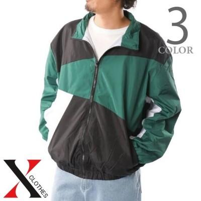 切り替え ナイロンジャケット ダイアゴナル トラックジャケット 韓国系ファッション メンズ ビッグシルエット ジャケット オーバーサイズ ブルー