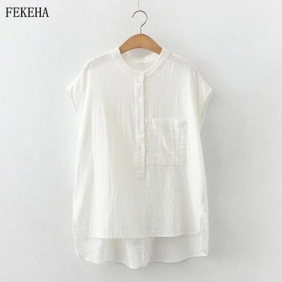 夏のノースリーブブラウス女性格子縞シャツ綿糸ルーズソリッドホワイトトップス女性服ワンポケット2021ニュース