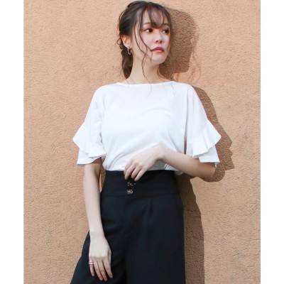 ソーシャルガール Social GIRL フリル袖Tシャツ (puホワイト)
