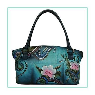 Anna By Anuschka Tote Handbag - Hand Painted Design on Real Leather - Shoulder Bag (Wide Denim Paisley Floral)並行輸入品