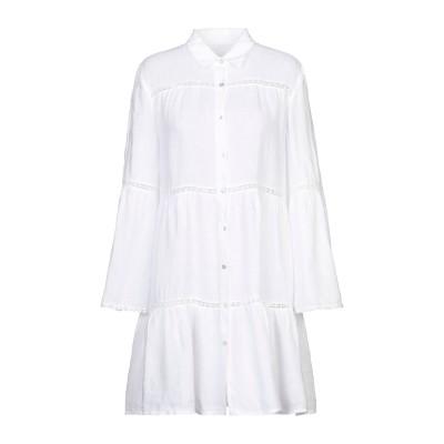 120% ミニワンピース&ドレス ホワイト 42 麻 100% ミニワンピース&ドレス