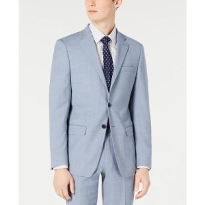 カルバンクライン メンズ ジャケット&ブルゾン アウター Men's X-Fit Slim-Fit Light Blue Sharkskin Suit Jacket Light Blue