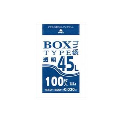 BOX入ポリ袋 45L LLDPE 0.03×650×800mm 透明 100枚箱入 BL43