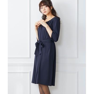 フロントプリーツですっきり見せ♪ウエストリボンカットソーワンピース (ワンピース)Dress