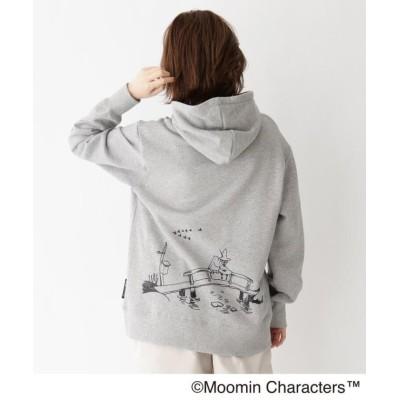 【ベースステーション】 MOOMIN ムーミン 限定 刺繍スウェットパーカー レディース グレー 99(FREE) BASE STATION