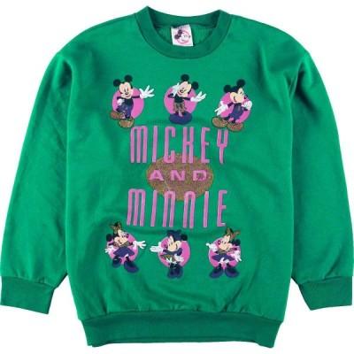 80年代 THE WALT DISNEY COMPANY MICKEY MOUSE&MINNIE MOUSE キャラクタースウェットシャツ トレーナー USA製 レディースL /eaa098154