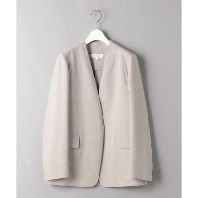 ジャケット ノーカラージャケット BY 麻ブレンドカラーレスジャケット