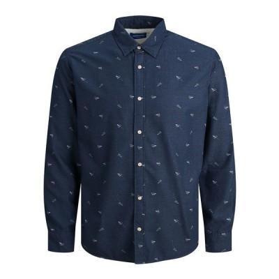 ジャック アンド ジョーンズ シャツ トップス メンズ Men's Stevie Printed Shirt Navy Blazer