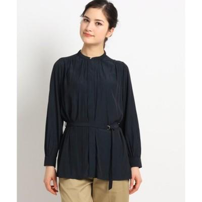 シャツ ブラウス 【S~Lサイズあり】パウダーサテンバンドカラーシャツ