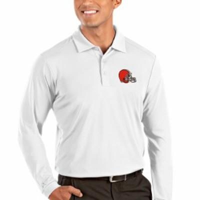 """メンズ ポロシャツ """"Cleveland Browns"""" Antigua Tribute Long Sleeve Polo - White"""