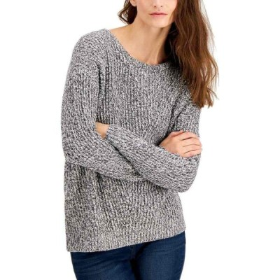 スタイル&コー Style & Co レディース ニット・セーター トップス Petite Directional Rib Pullover Sweater Charcoal Heather/White