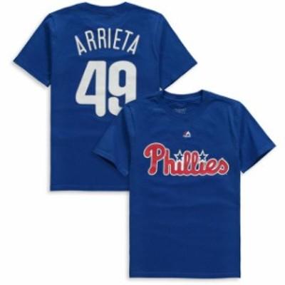 Majestic マジェスティック スポーツ用品  Majestic Jake Arrieta Philadelphia Phillies Youth Royal Name & Number T-Shirt
