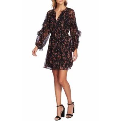 CeCe  ファッション ドレス CeCe Womens Sheath Dress Black Size Small S Floral Bohemian Ruffled