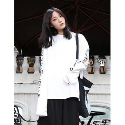 レディース トップス ロングスリーブ ロンT Tシャツ スウェット オルチャン 韓国ファッション トレンド 白 ホワイト XLサイズ