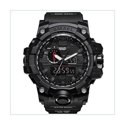 Richermall Men's Sports Analog Quartz Watch Dual Display Waterproof Digital Watches with LED Backlight relogio Masculino (Black)並行輸入品